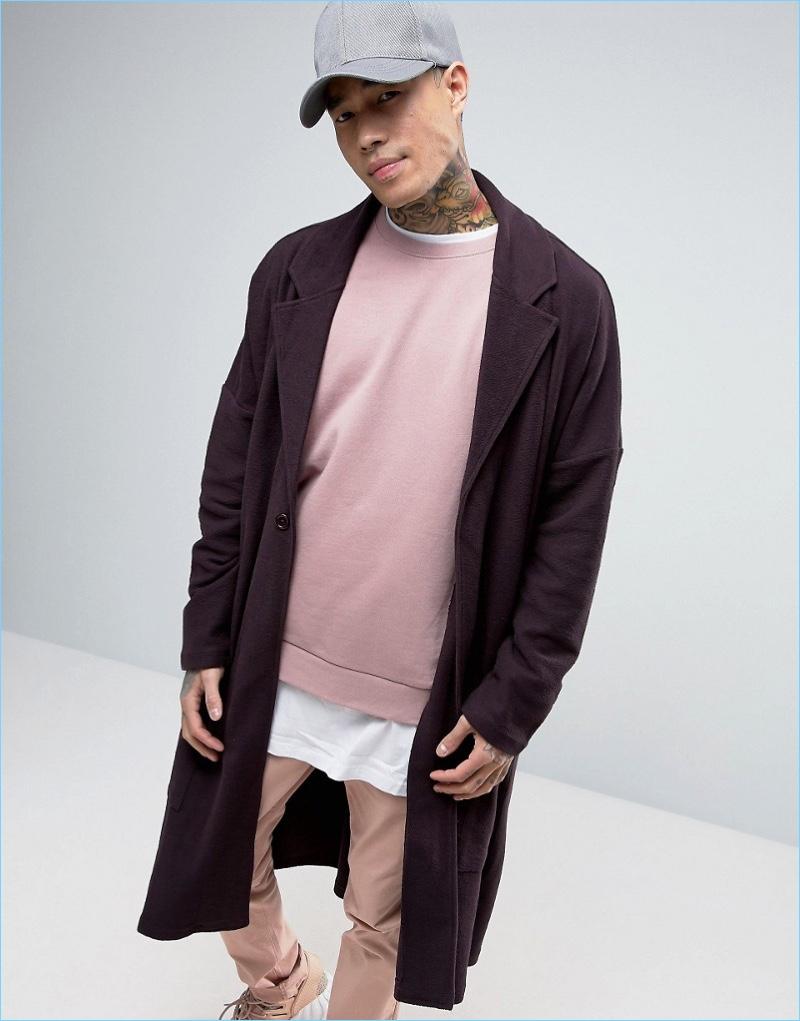 ASOS Extreme Oversized Jersey Duster Coat Purple