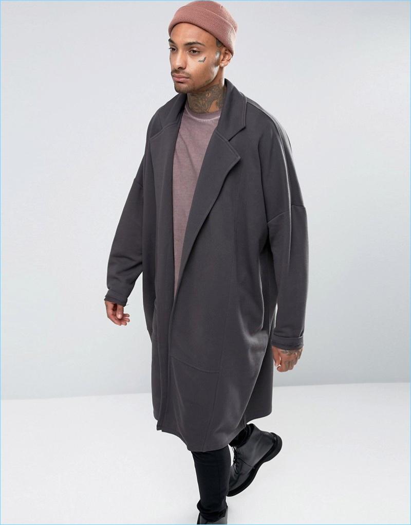 ASOS Extreme Oversized Longline Jersey Duster Coat Washed Black
