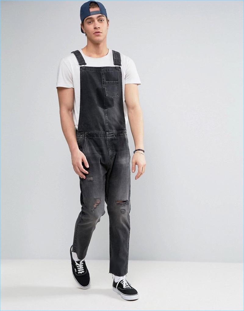 Mens black fashion overalls 31