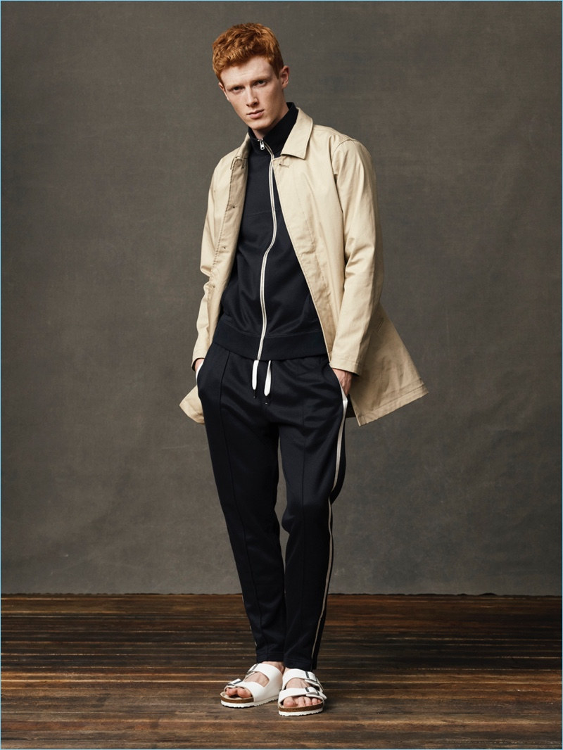Model Linus Wordemann goes sporty in a tracksuit by Abercrombie & Fitch.