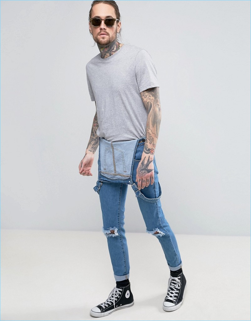 Take a cool spin on overalls by wearing them unfastened like these from Always Rare.