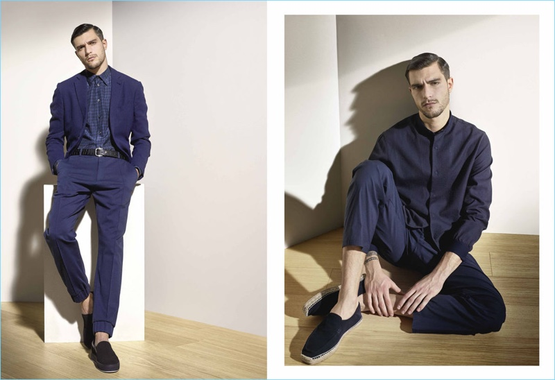 Armani Collezioni presents navy looks for its spring-summer 2017 men's lookbook.