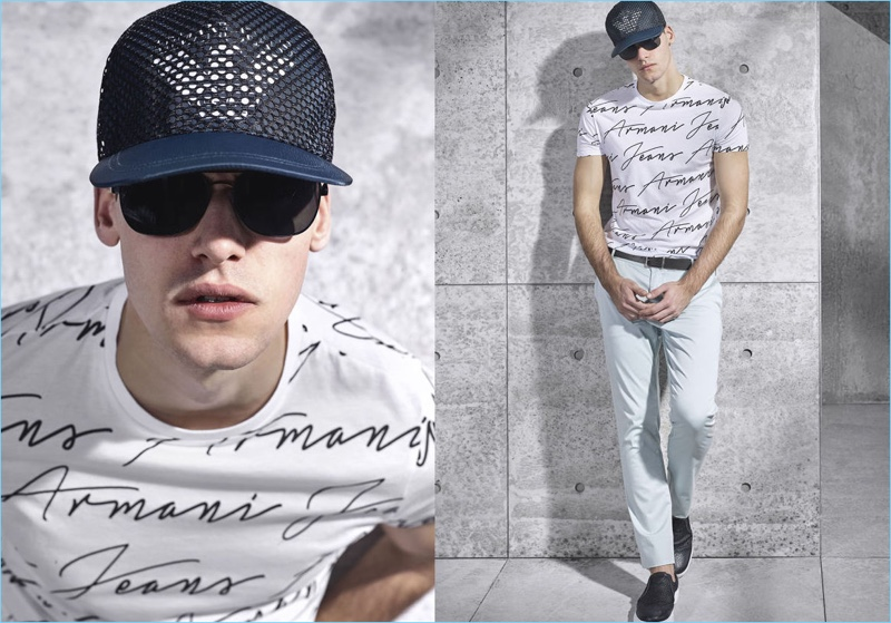 A casual style pervades Armani Jeans' spring-summer 2017 men's lookbook.