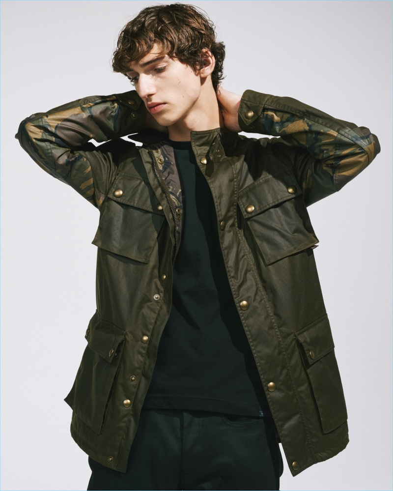 Belstaff's iconic Roadmaster jacket is revisited with camouflage details, courtesy of SOPHNET.