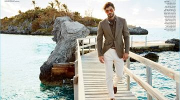 Golden Hour: Alex Libby takes to the dock in a Tom Ford look.