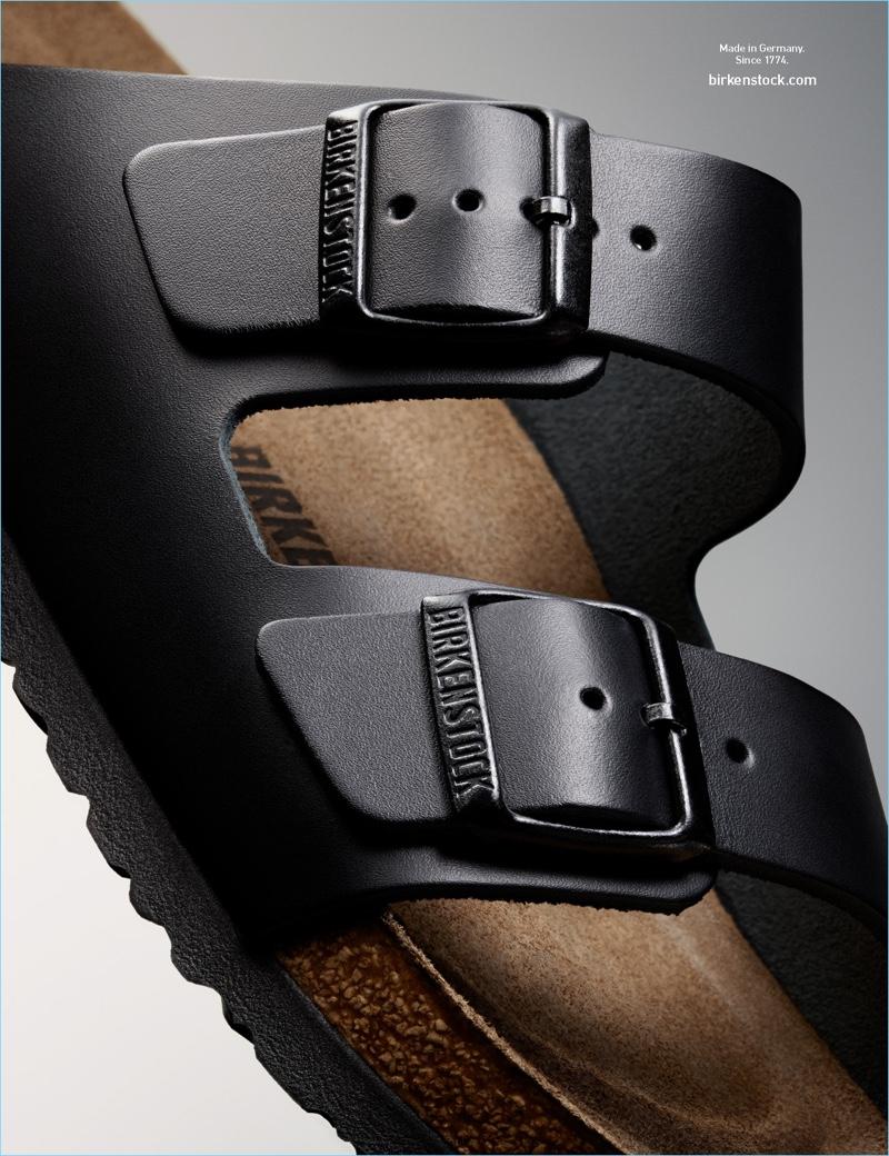 Birkenstock's black Arizona sandals appear in an advertisement for spring-summer 2017.