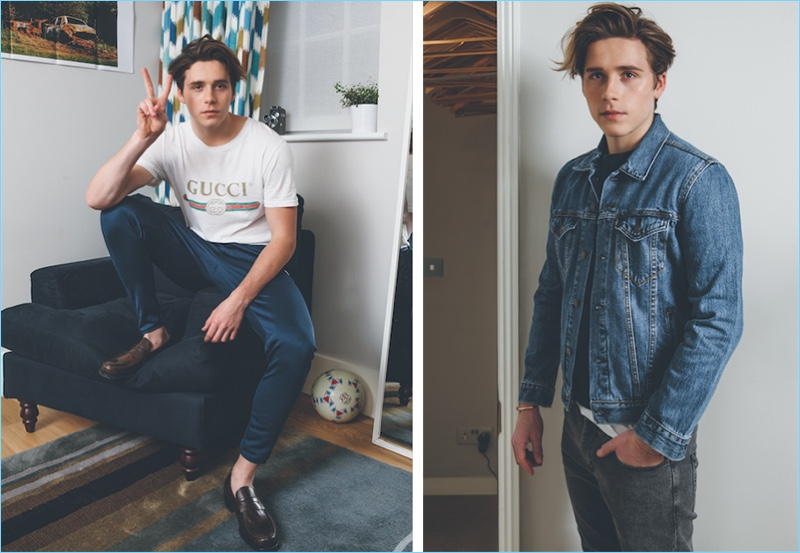 Left: Brooklyn Beckham wears a Gucci t-shirt with Ellesse tracksuit pants, and Church's leather loafers. Right: Brooklyn sports a Levi's denim jacket with a Calvin Klein Jeans t-shirt and Cartier bracelets. He also sports a sweater and denim jeans by Saint Laurent.