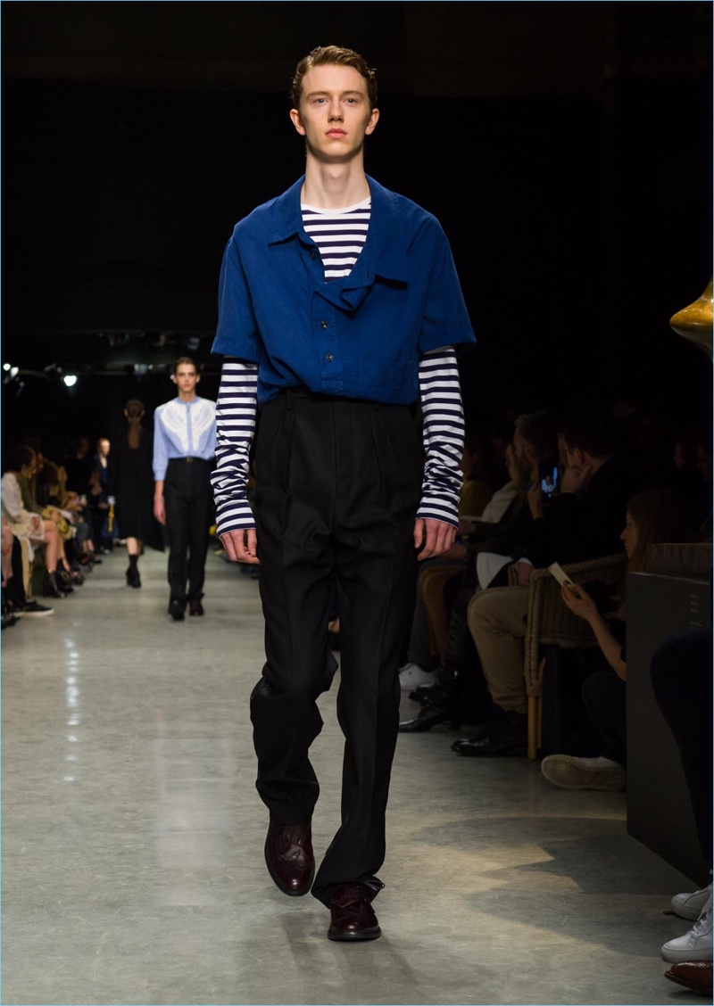 Nautical style reigns with a Breton stripe top and short-sleeve shirt from Burberry.