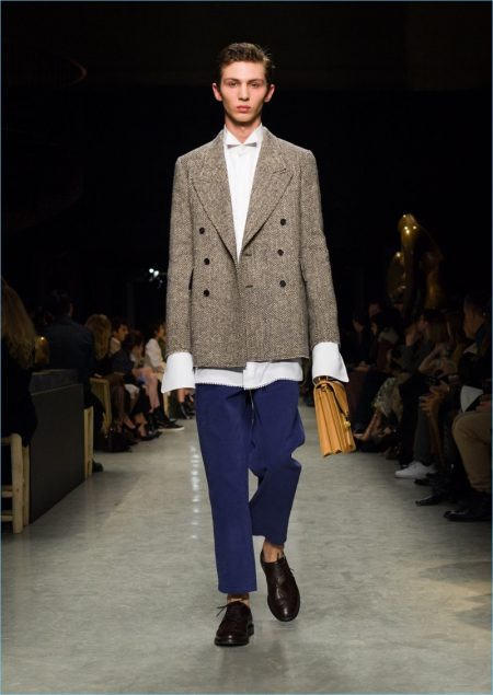 Burberry presents its latest men's collection during London Fashion Week.