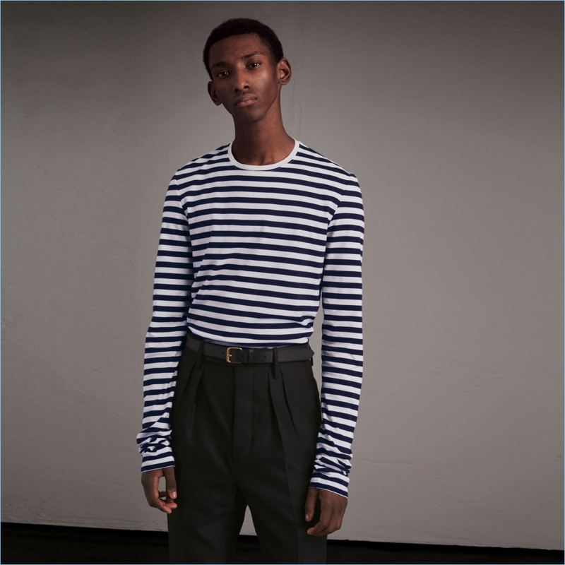 Burberry goes unisex with a nautical Breton striped long-sleeve tee from its February 2017 collection.