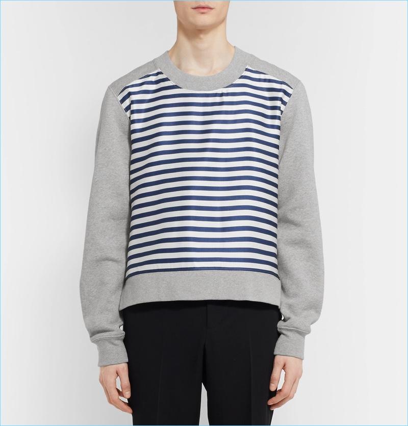 Burberry Men's Jersey Silk Striped Sweatshirt