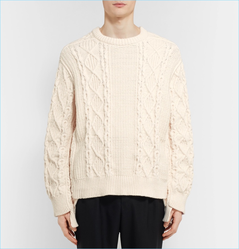 Burberry Men's Oversized Cable-Knit Sweater