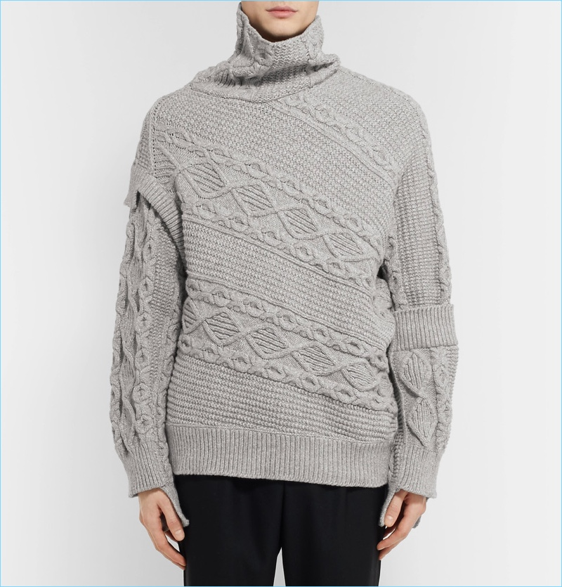 Burberry Men's Oversized Patchwork Cable-Knit Sweater