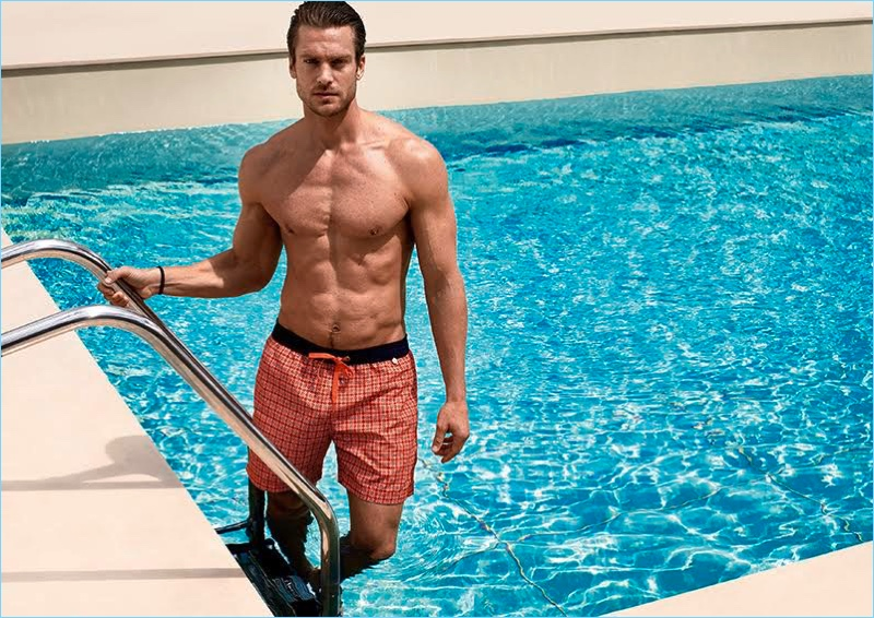 Taking to the pool, Jason Morgan stars in Calida's spring-summer 2017 campaign.