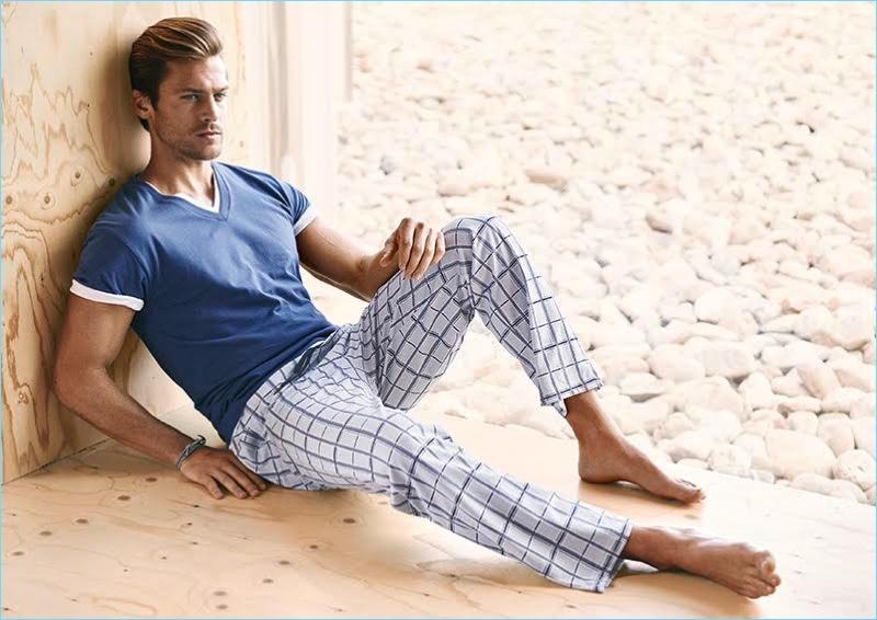 Model Jason Morgan sports loungewear for Calida's spring-summer 2017 campaign.