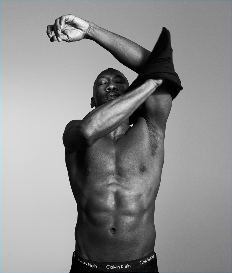 Actor Mahershala Ali goes shirtless for Calvin Klein Underwear's spring-summer 2017 campaign.