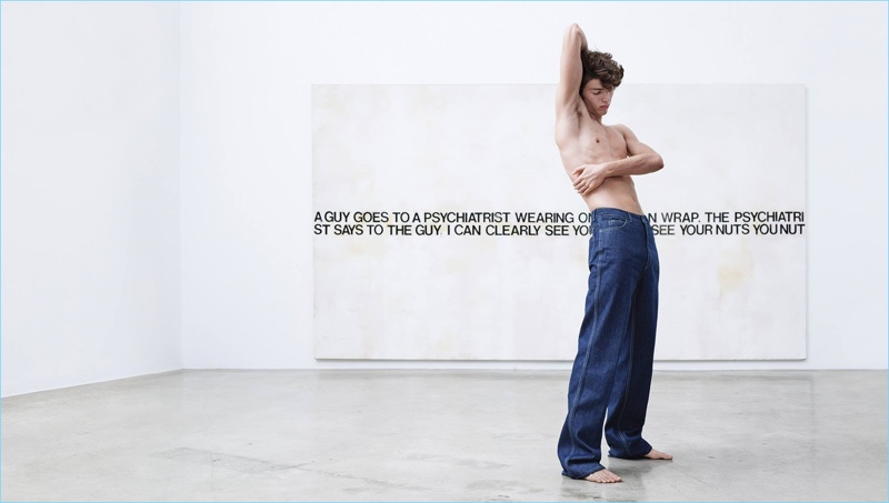 Posing against Richard Prince's Nuts, a denim-clad Fernando stars in Calvin Klein's American Classics campaign.