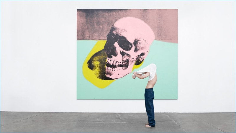 Willy Vanderperre photographs a model in front of Andy Warhol's Skull for Calvin Klein's American Classics campaign.