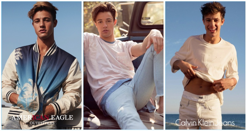 Cameron Dallas stars in fashion campaigns for American Eagle, Penshoppe, and Calvin Klein.