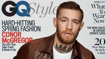 Conor McGregor covers the spring 2017 issue of GQ Style. McGregor sports a brown leather jacket by Neil Barrett with a shirt and belt by Dolce & Gabbana. The UFC star also wears Levi's jeans and a Breguet watch.