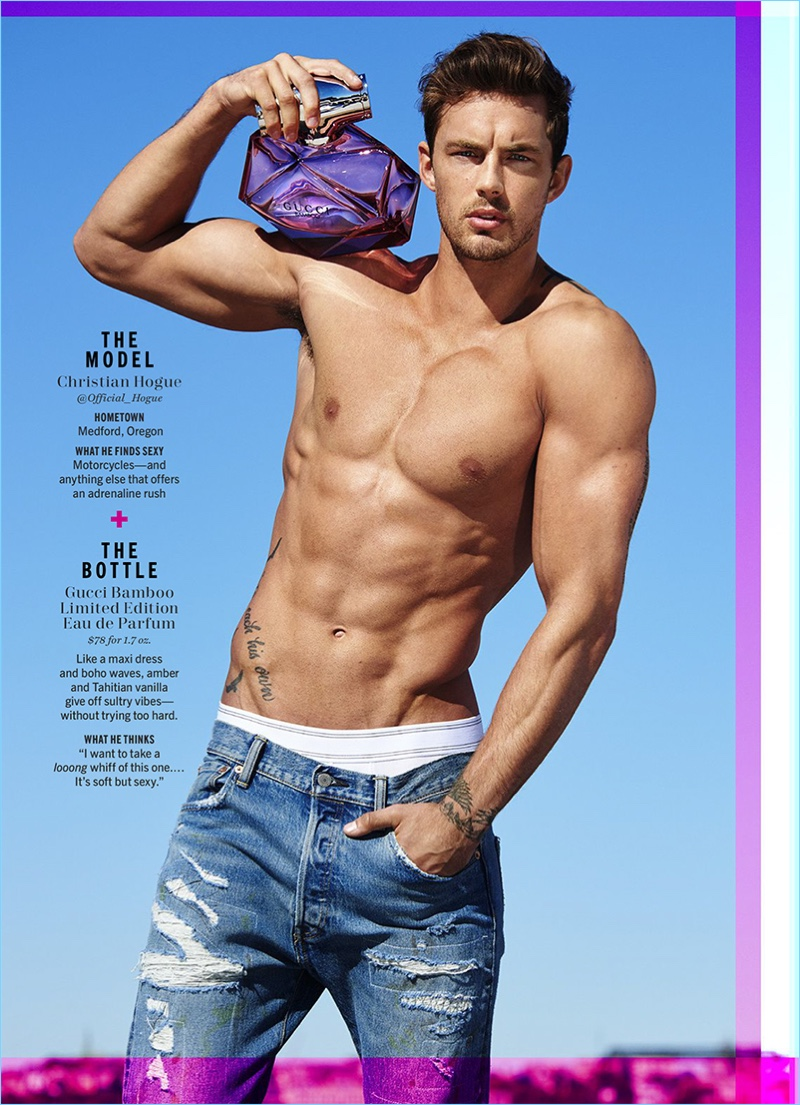 Christian Hogue loses his shirt for the pages of Cosmopolitan.