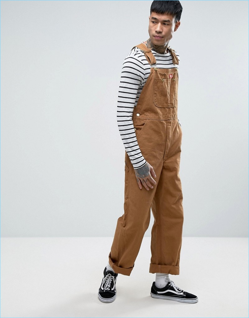 Channel a workerwear-inspired look with Dickies' relaxed tan overalls.
