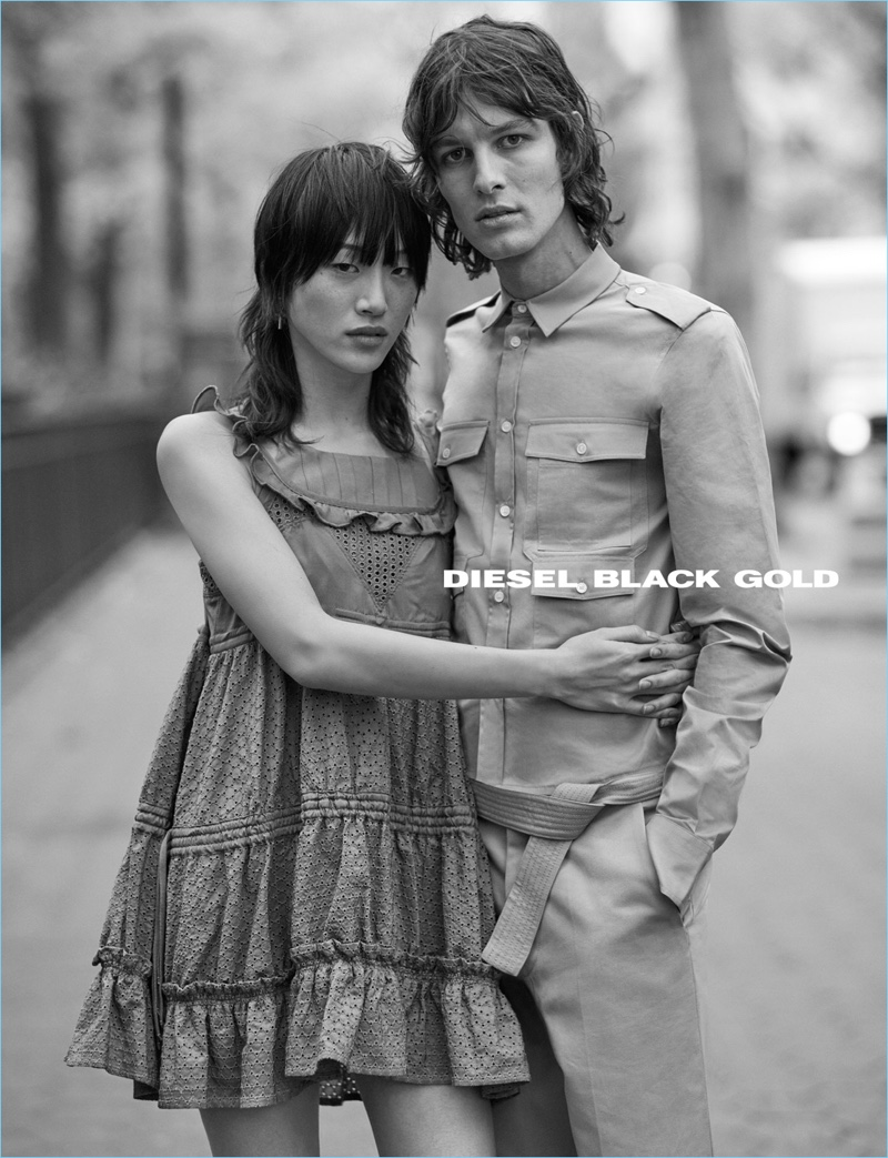 Ethan James Green photographs Sora Choi and Ákos Sógor for Diesel Black Gold's spring-summer 2017 ad campaign.
