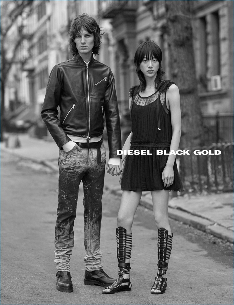 Ákos Sógor couples up with Sora Choi for Diesel Black Gold's spring-summer 2017 campaign.