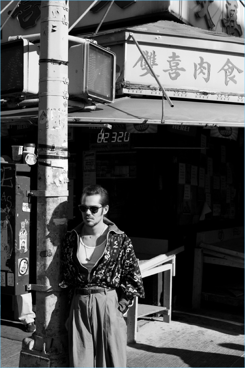 Terry Richardson photographs Ellar Coltrane in a vintage Kimono with a Burberry jacket, Ray-Ban sunglasses, and Dries Van Noten trousers.