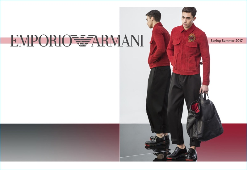 Alessio Pozzi sports a red and black look from Emporio Armani's spring-summer 2017 collection.