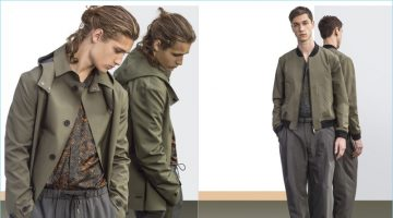 Khaki works well alongside grey for an urban friendly color palette from Emporio Armani.