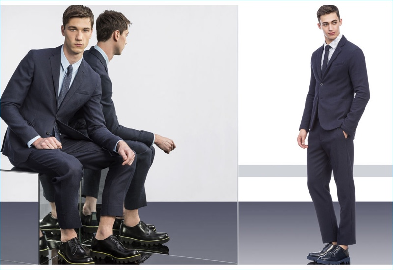 Navy suiting is front and center for Emporio Armani's spring-summer 2017 collection.