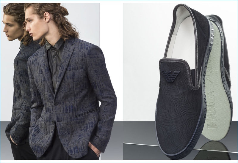 Roy van Leeuwen sports a graphic sport coat with a leather shirt from Emporio Armani.