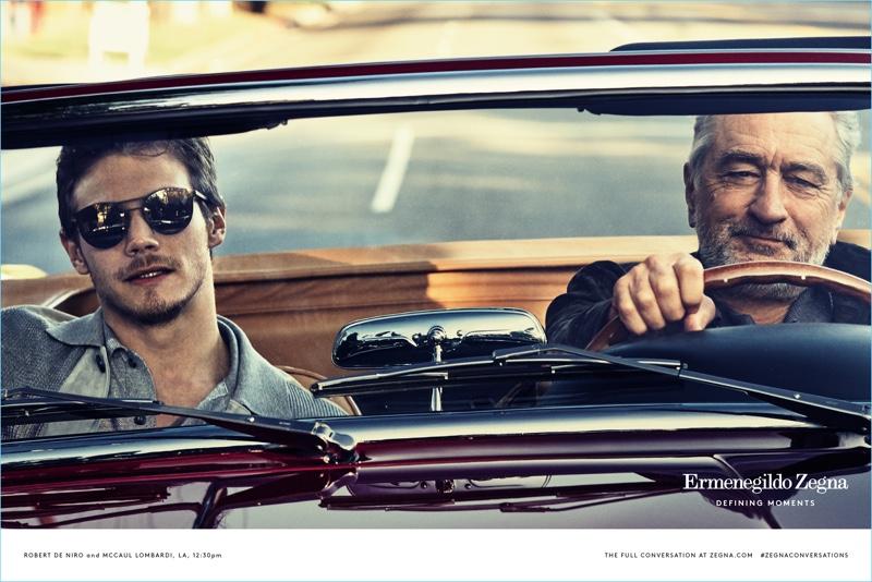 Going for a drive, McCaul Lombardi and Robert De Niro star in Ermenegildo Zegna's Defining Moments campaign.