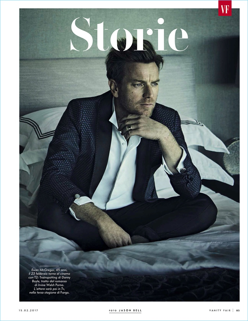 Scottish actor Ewan McGregor sports a tuxedo for the pages of Vanity Fair Italia.