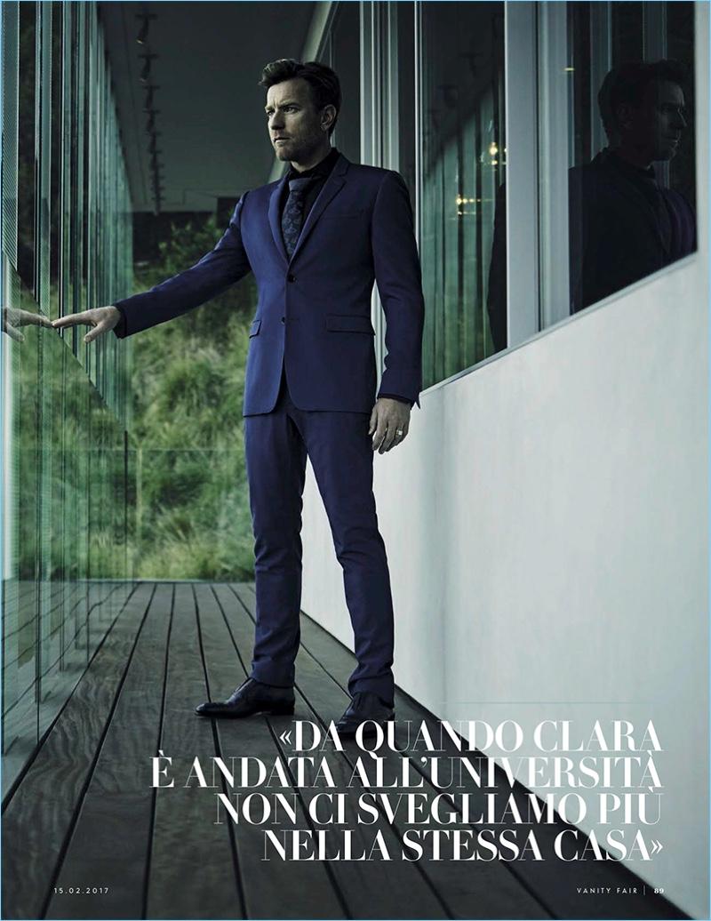 Actor Ewan McGregor dons a trim blue suit for Vanity Fair Italia.
