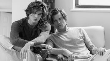 Son and father model duo, Jesse and Thom Gwin wear J.Crew.