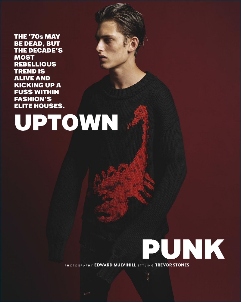Starring in an editorial for GQ Australia, James Manley wears an Off-White sweater with Paul Smith trousers.
