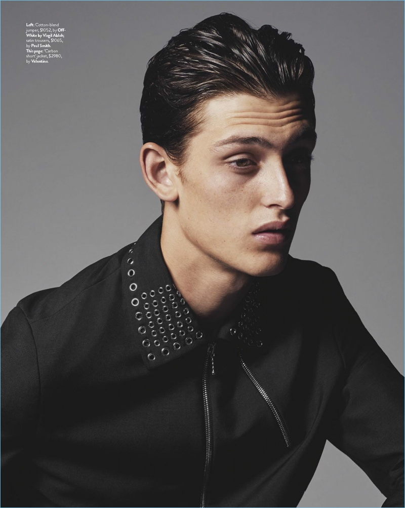 Model James Manley wears a Valentino jacket for the pages of GQ Australia.