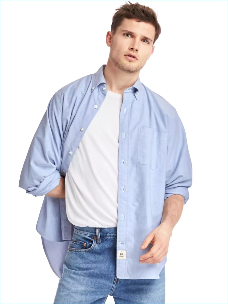 2d030dc1873 Add volume back to a classic with Gap s Archive Re-Issue big oxford shirt.