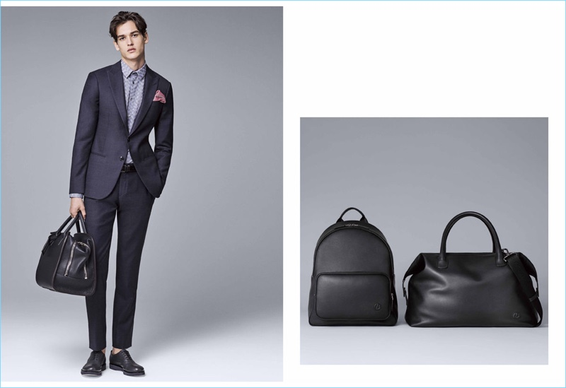 In addition to trim suits, Giorgio Armani showcases its luxurious leather bags.