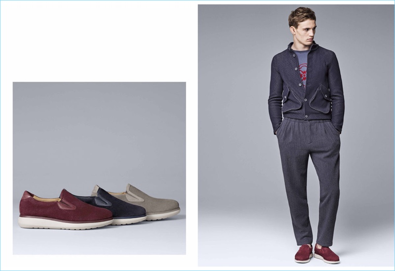 Slip-on shoes adds a casual component to the Giorgio Armani wardrobe.