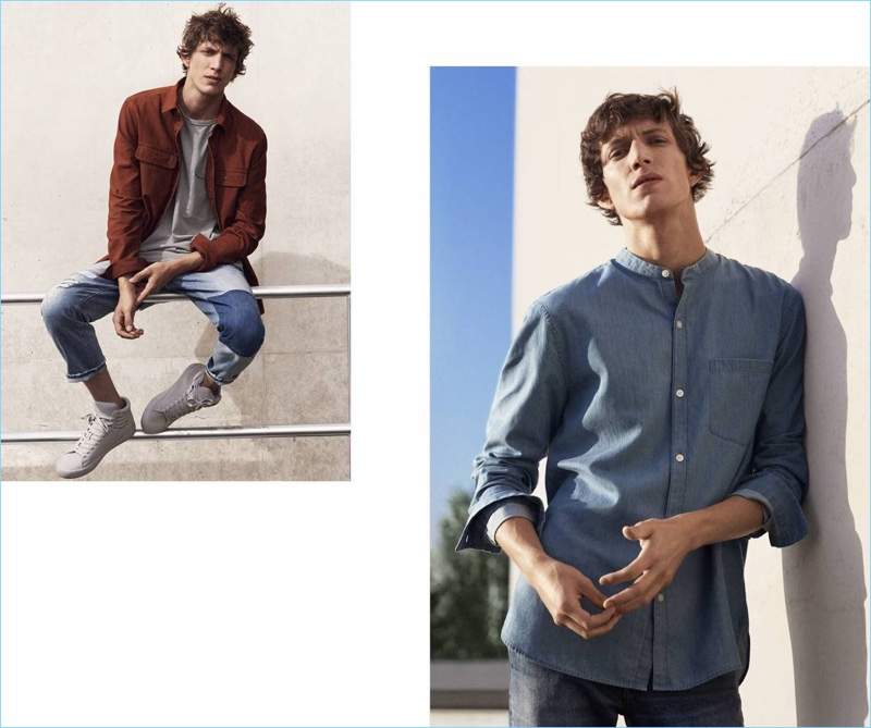 Left: Going casual, Xavier Buestel wears a cargo shirt, straight cropped jeans, a tee, and high tops by H&M. Right: Xavier wears a granddad collar denim shirt and skinny low jeans from H&M.