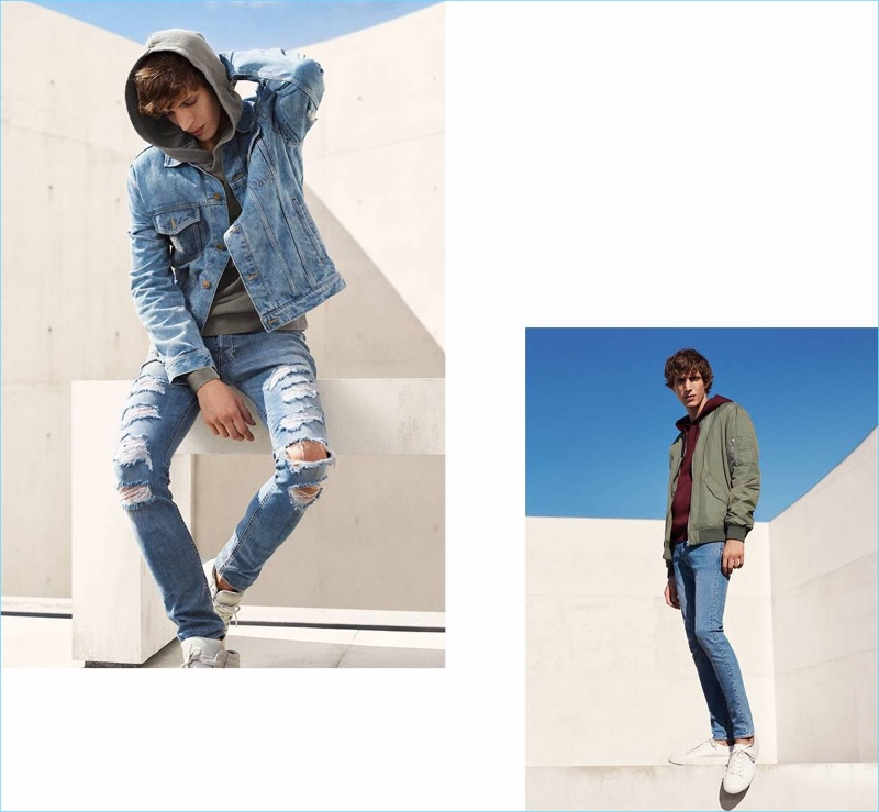 Left: Xavier Buestel wears a denim jacket, ripped jeans, hoodie, and sneakers from H&M. Right: Xavier rocks a H&M bomber jacket, hoodie, skinny jeans, and white sneakers.