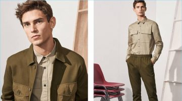 Left: Arthur Gosse sports two utility shirts with trousers by H&M. Right: Arthur wears a utility shirt with joggers and white sneakers.