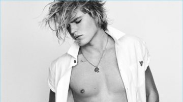 Aussie model Jordan Barrett is front and center for Versace Jeans' spring-summer 2017 campaign.