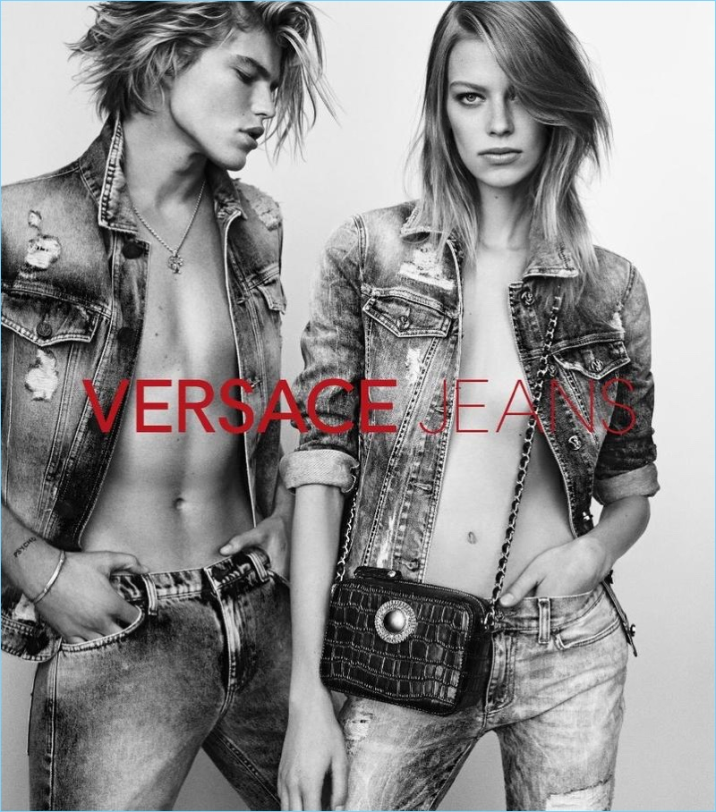 Models Jordan Barrett and Lexi Boling front Versace Jeans' spring-summer 2017 campaign.