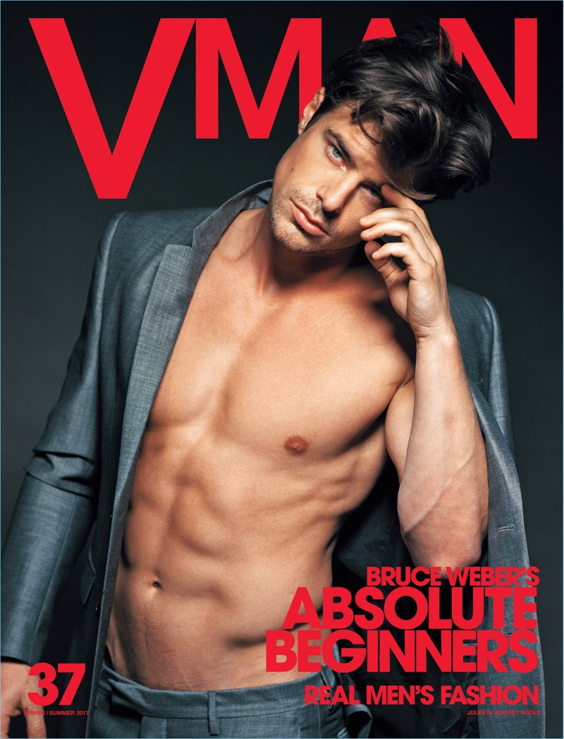 Jules Horn goes shirtless for the cover of VMAN magazine.