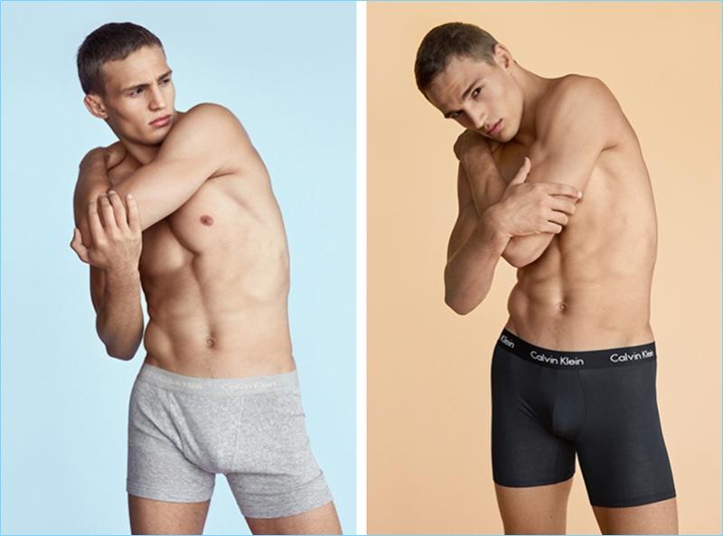 Model Julian Schneyder sports underwear styles from Calvin Klein.