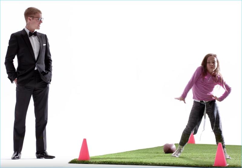 Singer Justin Bieber appears in a Super Bowl commercial for T-Mobile.
